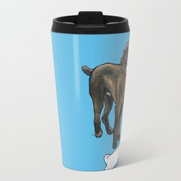 Milo the Poodle with his Monkey Travel Mug