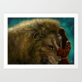 Aslan & Lucy Art Print