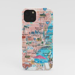 Miami Florida  Illustrated  Travel  Map  with  Roads  and  Highlights iPhone Case