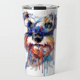 Schnauzer Head Watercolor Portrait Travel Mug
