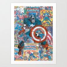 Vintage Comic Capt America Art Print