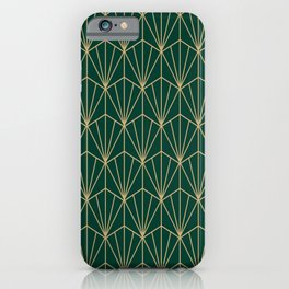 Art Deco Vector in Green and Gold iPhone Case