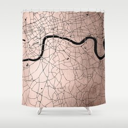 London Rosegold on Black Street Map Shower Curtain