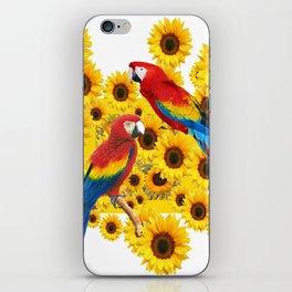RED  & BLUE MACAWS LOVE YELLOW SUNFLOWERS ART iPhone Skin