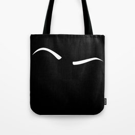 Raised Eyebrow - White on Black Tote Bag