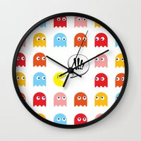 pac man Wall Clocks featuring Pac-Man Trapped by Psocy Shop