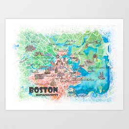 Boston Massachusetts USA Illustrated Map with Main Roads Landmarks and Highlights Art Print