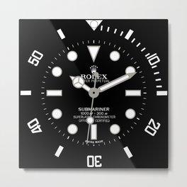 Rolex Submariner Face 114060 Black Dial Metal Print