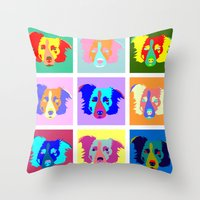 border collie Throw Pillows featuring Border Collie Pop Art by Pound Designs