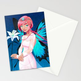 Portrait of a young fairy with a wedding dress and lilium Stationery Cards