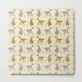 Adorable Fox Friends, Animal Pattern in Nature Colors of Grey and Brown with Paw Prints Metal Print