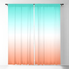 Turquoise White and Coral Ombre Blackout Curtain