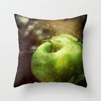 apple Throw Pillows featuring Apple  by Bella Blue Photography