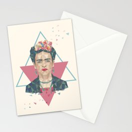 Pastel Frida - Geometric Portrait with Triangles Stationery Cards