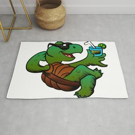 Cartoon Turtle Drinking Cocktail. Rug