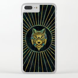 Tribal Wolf - Gold and Marble Decorated Clear iPhone Case