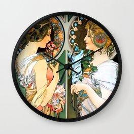 "Alphonse Mucha ""Primrose and Feather"" Wall Clock"