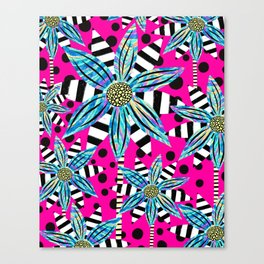 Pinwheel Flowers on Hot Pink Canvas Print