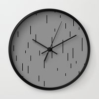 magritte Wall Clocks featuring MINIMAL MAGRITTE (GOLCONDA) by THE USUAL DESIGNERS
