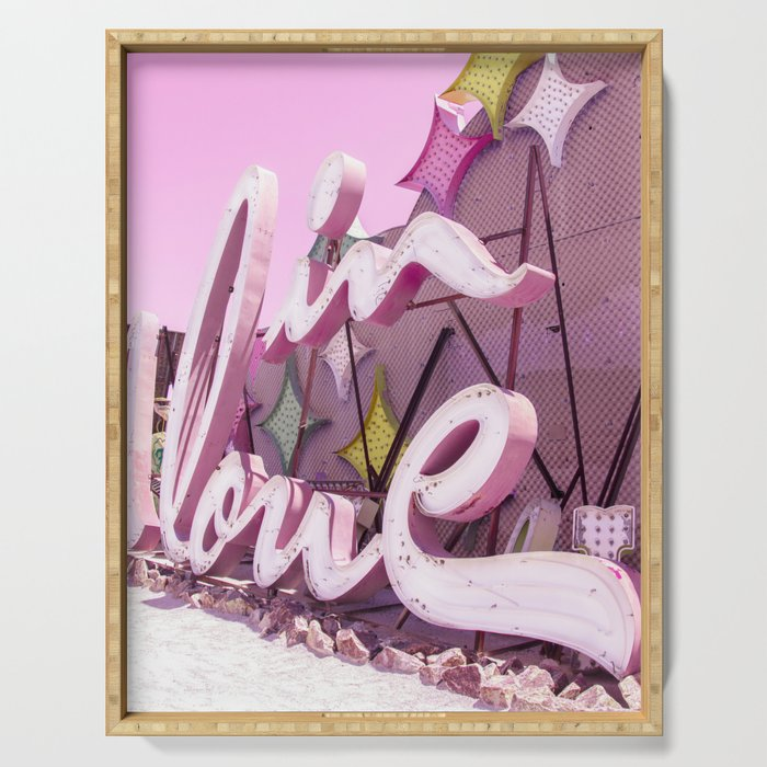 """Pink """"In Love"""" Sign at the Neon Museum in Las Vegas, Nevada Serving Tray"""