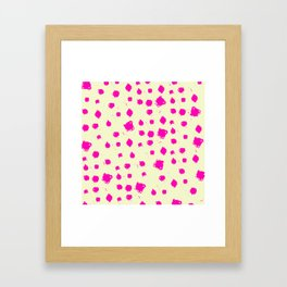 Hot Pink Spots on Yellow Framed Art Print