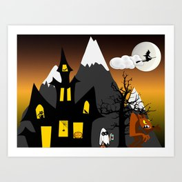 Halloween Scene Art Print