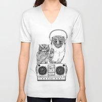 silent V-neck T-shirts featuring Silent Night ANALOG zine by jewelwing