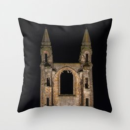 St Andrews Cathedral at night Throw Pillow