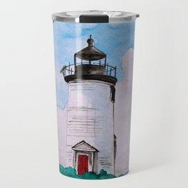 Cape Poge Lighthouse, Martha's Vineyard watercolor Travel Mug