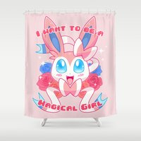magical girl Shower Curtains featuring Magical Girl Sylveon by Anjila