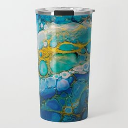Ocean: a colorful abstract piece in blues and greens by KKingCreations Travel Mug