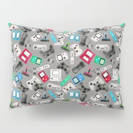 Watercolor Gaming Video Game Devices Pattern Gray Pillow Sham