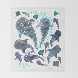Whale Shark, Ray & Sea Creature Play Print Throw Blanket
