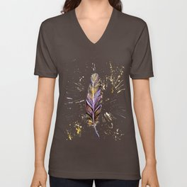 Purple and gold feather Unisex V-Neck
