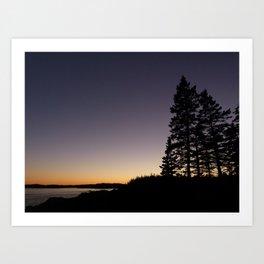 Sunset on Cutler Coast Art Print