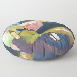 Wassily Kandinsky Mountain landscape with church Floor Pillow