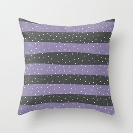 Christmas Simple seamless pattern Snow confetti on Grey and Purple Stripes Background Throw Pillow