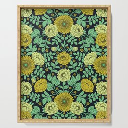 Seafoam Green, Chartreuse, Mustard Yellow & Navy Blue Floral Pattern Serving Tray