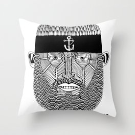 The One Armed Sushi Chef (Bearded Man Wearing Anchor Headband) Throw Pillow