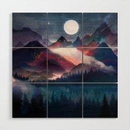 Mountain Lake Under the Stars Wood Wall Art
