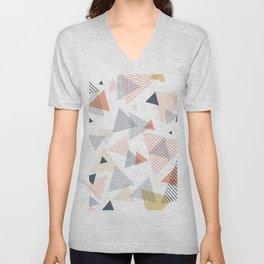 Abstract Modern Blue, Orange, Yellow Triangles Pattern Unisex V-Neck