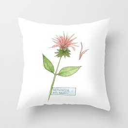 bee balm sketch Throw Pillow