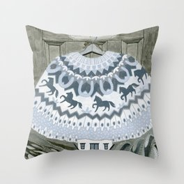 Sweater with Horses Throw Pillow