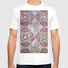 Geometric Wall Pattern MEDIUM White Mens Fitted Tee