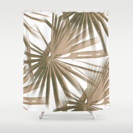 Brown on White Tropical Vibes Beach Palmtree Vector Shower Curtain