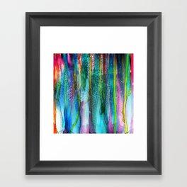 Rainbow Rain - Alcohol Ink Painting Framed Art Print
