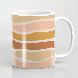 Organic Layer Stripes Stripe Pattern in Clay Ochre Putty Rust Blush Earth Tones Coffee Mug
