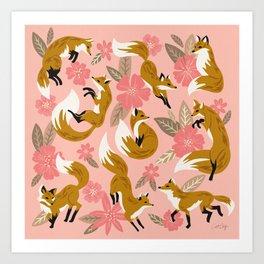 Foxes & Blooms – Pink & Caramel Art Print