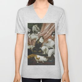 My Wife's Lovers by Carl Kahler 1883 Famous Cat Painting Unisex V-Neck