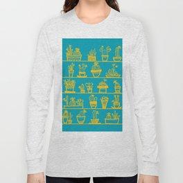 Cactus 28 turquoise yellow Long Sleeve T-shirt